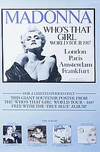 MADONNA - ORIGINAL WHO'S THAT GIRL WORLD TOUR 1987 POSTER FRAMED.