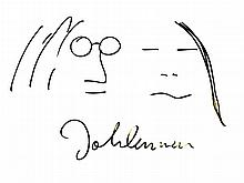 JOHN LENNON: DRAWING OF JOHN AND YOKO.