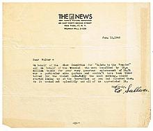 ED SULLIVAN PERSONAL TYPED AND SIGNED LETTER.