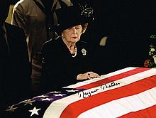 MARGARET THATCHER SIGNED PHOTO AT PRESIDENT RONALD REGANS CASKET.