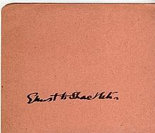 ERNEST SHACKLETON SIGNED PAPER.