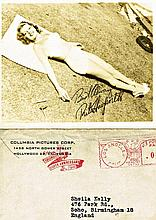 RITA HAYWORTH 1946 FACSIMILE SIGNED CARD AND ORIGINAL ENVELOPE