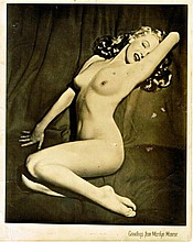 MARILYN MONROE SIGNED NUDE BLACK AND WHITE PHOTO