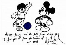 MICHAEL JACKSON - MICKEY MOUSE AND BOY SOCCER DRAWING.