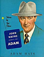 JOHN WAYNE 1940'S MOVIE CARD DISPLAY FOR ADAM HATS