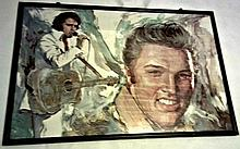 ELVIS PRESLEY POSTER OF AN OIL PAINTING FRAMED