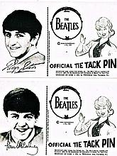 THE BEATLES OFFICAL NEMS DISPLAY CARDS - TIE TACK PINS