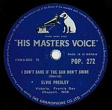 ORIGINAL ELVIS PRESLEY UK HMV 78 - BLUE MOON/I DON'T CARE IF THE SUN DON'T SHINE.
