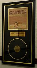 BING CROSBY SIGNED LP PRESENTATION.37x22 INCHES