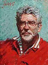 ROLF HARRIS SELF PORTRAIT IN STRIPED SHIRT SIGNED GICLEE PRINT.