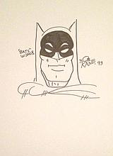 BOB KANE: SIGNED DRAWING OF BATMAN.