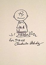CHARLES SCHULZ: DRAWING OF CHARLIE BROWN.