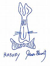 JAMES STEWART SIGNED HARVEY DRAWING.