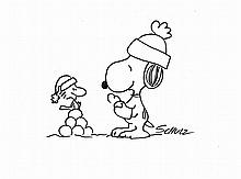 CHARLES SCHULZ DRAWING OF SNOOPY AND WOODSTOCK.