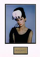 AUDREY HEPBURN SIGNED CARD.