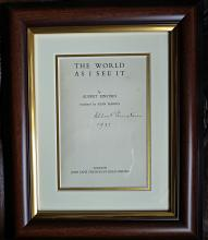 Albert Einstein Signed The World As I See It mounted title page.