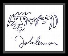JOHN LENNON DRAWING: JOHN, YOKO AND SEAN.
