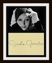 GRETA GARBO SIGNED PAPER.