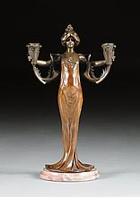 LUCIEN CHARLES ÉDOUARD ALLIOT (French 1877-1967) A PATINATED BRONZE FIGURAL TWO-LIGHT CANDELABRUM,