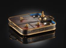 A CHINESE CLOISONNÉ ENAMELED BRONZE AND HARDWOOD FITTED OPIUM SET, CIRCA 1900,