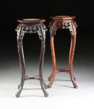A PAIR OF VINTAGE CHINESE MARBLE TOPPED CARVED HARDWOOD PEDESTAL STANDS, EARLY 20TH CENTURY,