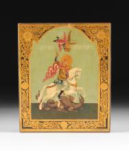 A RUSSIAN PARCEL GILT AND POLYCHROME PAINTED ICON OF ST. GEORGE AND THE DRAGON, 20TH CENTURY,