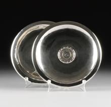 A PAIR OF PERUVIAN STERLING SILVER TRAYS WITH INSET COINS, CIRCA 1970,
