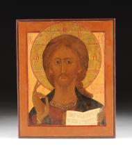 A LARGE RUSSIAN PARCEL GILT AND POLYCHROME PAINTED ICON OF CHRIST PANTOCRATOR, 19TH/EARLY 20TH CENTURY,
