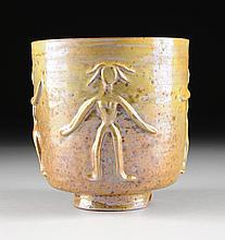 BEATRICE WOOD (American 1893-1998) A LUSTER GLAZED EARTHENWARE FIGURAL VASE, OJI, CALIFORNIA, CIRCA 1960,