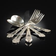 A FIFTY-FOUR PIECE REED & BARTON STERLING SILVER FLATWARE SERVICE, FRENCH RENAISSANCE PATTERN, MOLDED MARKS, 20TH CENTURY,