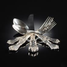 A NINETY-SIX PIECE REED & BARTON STERLING SILVER FLATWARE SERVICE, MARLBOROUGH PATTERN, SILVERSMITH MARKS, 20TH CENTURY,
