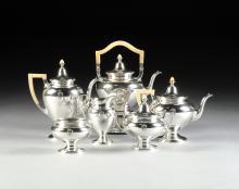 A GORHAM MFG. CO. CUSTOM DESIGNED SIX-PIECE STERLING SILVER TEA AND COFFEE SERVICE, PROVIDENCE, RHODE ISLAND, CIRCA 1910,