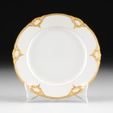 A SET OF SIXTEEN KPM PARCEL GILT WHITE PORCELAIN DESSERT PLATES, UNDERGLAZE AND OVERGLAZE MAKER'S MARKS, IMPRESSED NUMBERS, 19TH/20TH CENTURY,