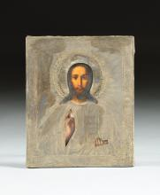 AN ANTIQUE RUSSIAN SILVER OKLAD MOUNTED ICON OF CHRIST THE PANTOCRATOR, MOSCOW, 19TH CENTURY,