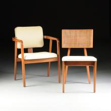 GEORGE NELSON & ASSOCIATES / ERNEST FARMER (American 20th Century) A SET OF TWELVE UPHOLSTERED MAHOGANY DINING CHAIRS, FOR HERMAN MILLER, INC., ZEELAND, MICHIGAN, DESIGNED 1946-1947,
