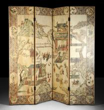 AN ANTIQUE CHINESE POLYCHROME PAINTED IVORY GROUND LACQUERED FOUR PANEL SCREEN,