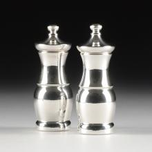A SET OF WORCESTER STERLING SILVER CLAD SALT AND PEPPER MILLS BY BOREL, FRANCE, CIRCA 1970,