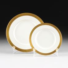 A TWENTY FOUR PIECE ROYAL WORCESTER PARCEL GILT IVORY GROUND PART DINNER SERVICE, DURHAM PATTERN, OVERGLAZE GILT AND IMPRESSED MARKS, CIRCA 1963,