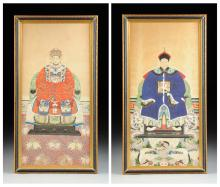 A PAIR OF CHINESE POLYCHROME PAINTED ANCESTOR PORTRAITS, LATE QING DYNASTY/REPUBLIC PERIOD, EARLY 20TH CENTURY,