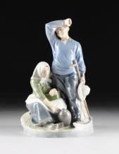 A ROYAL COPENHAGEN POLYCHROME PAINTED PORCELAIN FIGURAL GROUP, HARVEST COUPLE, NUMBERED 1352, INCISED ARTIST'S SIGNATURE, GREEN AND BLUE MAKER'S MARKS, 1938,