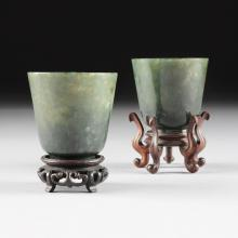 A PAIR OF CHINESE CARVED SPINACH JADE CUPS, POSSIBLY LATE QING DYNASTY, LATE 19TH/EARLY 20TH CENTURY,