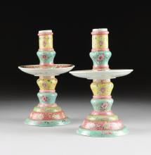 A PAIR OF CHINESE FAMILLE ROSE AND POLYCHROME ENAMELED PORCELAIN ALTAR CANDLESTANDS, 20TH CENTURY,