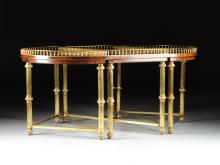 A REGENCY REVIVAL STYLE GILT BRASS AND ROSEWOOD THREE TABLE ARRANGEMENT, MODERN,