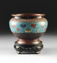 A CHINESE CLOISONNÉ AND COPPER BOWL WITH WOOD STAND, EARLY 20TH CENTURY,