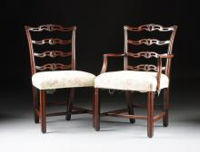 A SET OF TEN GEORGE III STYLE CARVED MAHOGANY DINING CHAIRS, 19TH CENTURY,