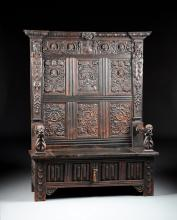 A RENAISSANCE STYLE CARVED OAK HALL SEAT, POSSIBLY ENGLISH, 19TH CENTURY AND OLDER,