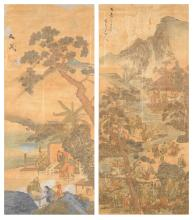 TWO FRAMED CHINESE POLYCHROME WATERCOLOR PAINTED SCROLLS, SIGNED,