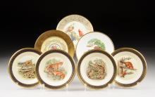 A COLLECTION OF SIX PLATES BY LENOX AND DECORATED BY BOEHM, LATE 20TH CENTURY,