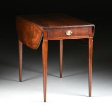A FEDERAL MAPLE STRING LINE INLAID MAHOGANY PEMBROKE TABLE, LATE 18TH/EARLY 19TH CENTURY,