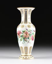 A BOHEMIAN PARCEL GILT AND POLYCHROME ENAMELED WHITE CUT TO CLEAR VASE, EARLY 20TH CENTURY,